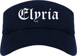 Elyria Ohio OH Old English Mens Visor Cap Hat Navy Blue