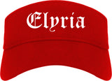 Elyria Ohio OH Old English Mens Visor Cap Hat Red