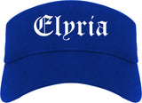 Elyria Ohio OH Old English Mens Visor Cap Hat Royal Blue