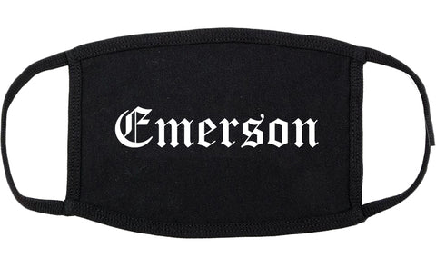 Emerson New Jersey NJ Old English Cotton Face Mask Black