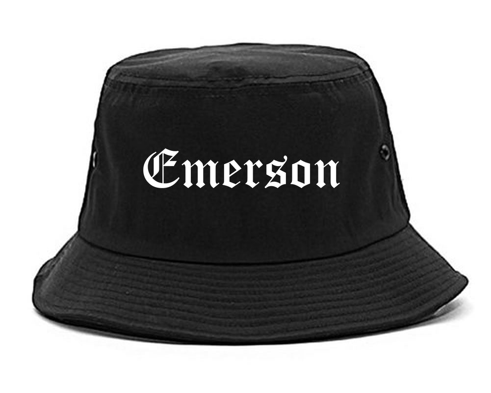 Emerson New Jersey NJ Old English Mens Bucket Hat Black