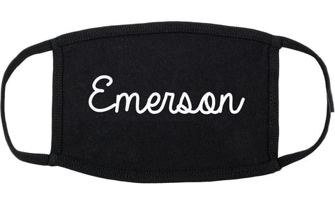 Emerson New Jersey NJ Script Cotton Face Mask Black