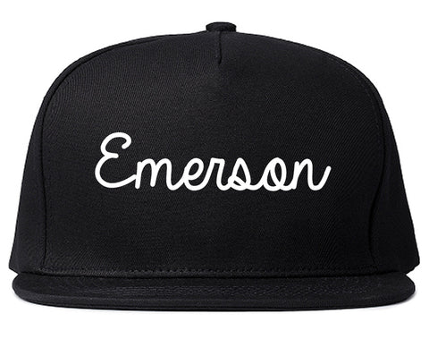 Emerson New Jersey NJ Script Mens Snapback Hat Black