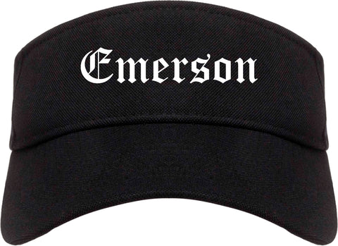 Emerson New Jersey NJ Old English Mens Visor Cap Hat Black