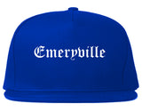 Emeryville California CA Old English Mens Snapback Hat Royal Blue