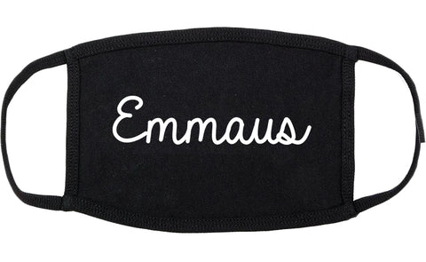 Emmaus Pennsylvania PA Script Cotton Face Mask Black