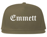 Emmett Idaho ID Old English Mens Snapback Hat Grey