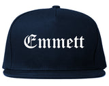 Emmett Idaho ID Old English Mens Snapback Hat Navy Blue