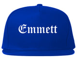 Emmett Idaho ID Old English Mens Snapback Hat Royal Blue