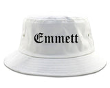 Emmett Idaho ID Old English Mens Bucket Hat White