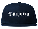 Emporia Kansas KS Old English Mens Snapback Hat Navy Blue