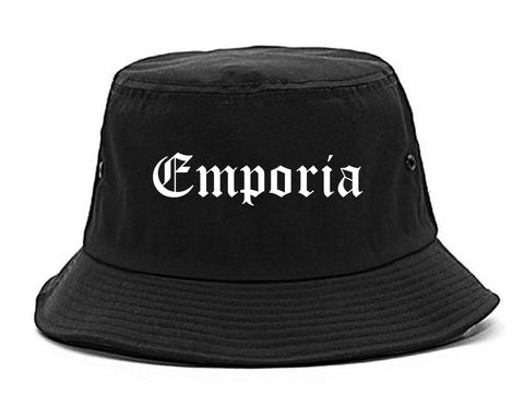 Emporia Kansas KS Old English Mens Bucket Hat Black