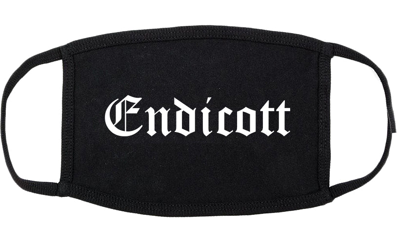 Endicott New York NY Old English Cotton Face Mask Black