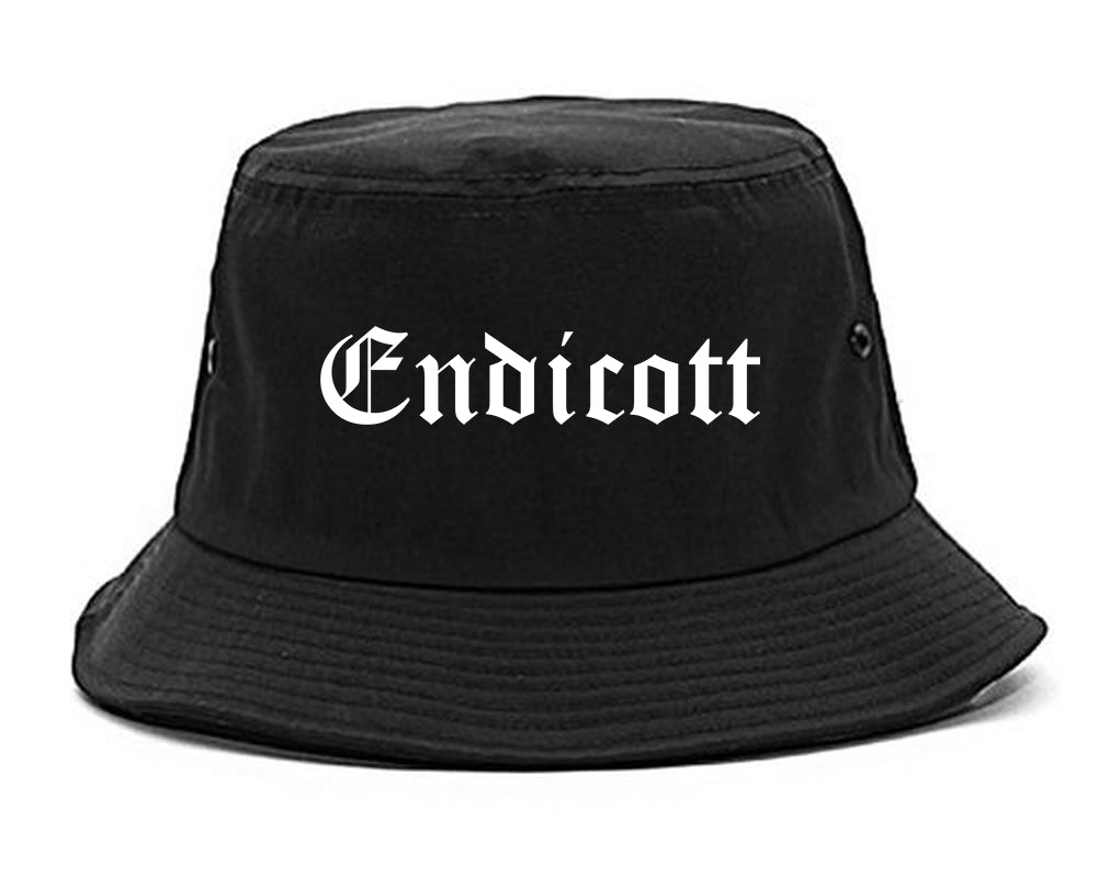 Endicott New York NY Old English Mens Bucket Hat Black