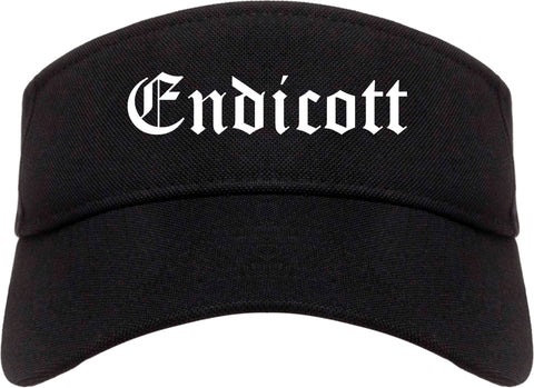 Endicott New York NY Old English Mens Visor Cap Hat Black