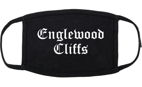 Englewood Cliffs New Jersey NJ Old English Cotton Face Mask Black