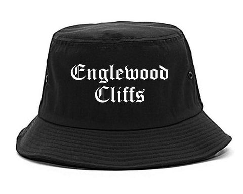 Englewood Cliffs New Jersey NJ Old English Mens Bucket Hat Black
