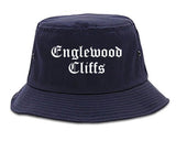 Englewood Cliffs New Jersey NJ Old English Mens Bucket Hat Navy Blue