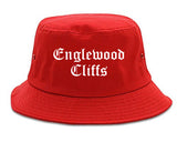 Englewood Cliffs New Jersey NJ Old English Mens Bucket Hat Red