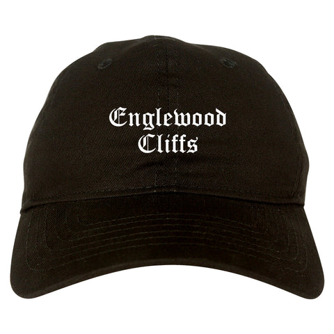 Englewood Cliffs New Jersey NJ Old English Mens Dad Hat Baseball Cap Black