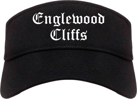 Englewood Cliffs New Jersey NJ Old English Mens Visor Cap Hat Black