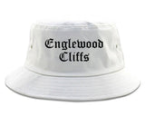 Englewood Cliffs New Jersey NJ Old English Mens Bucket Hat White