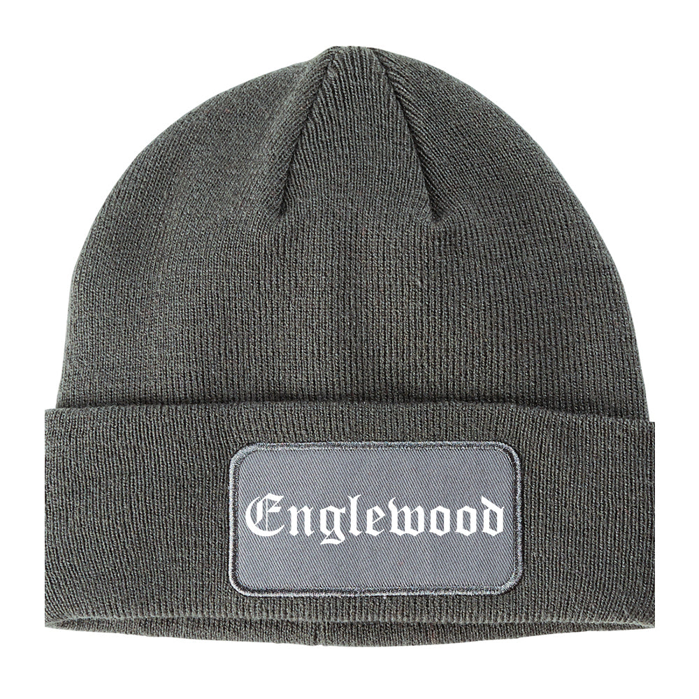 Englewood Colorado CO Old English Mens Knit Beanie Hat Cap Grey