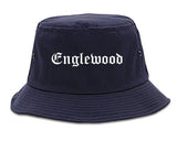 Englewood New Jersey NJ Old English Mens Bucket Hat Navy Blue