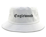 Englewood New Jersey NJ Old English Mens Bucket Hat White