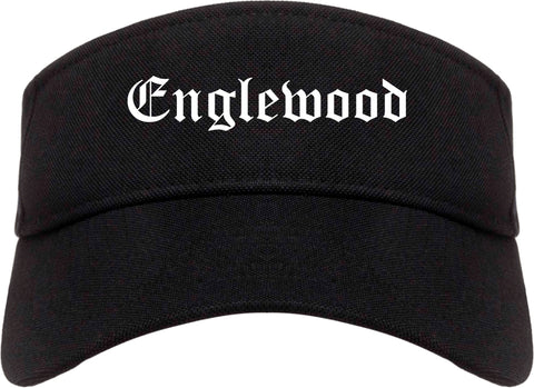 Englewood Ohio OH Old English Mens Visor Cap Hat Black