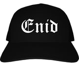 Enid Oklahoma OK Old English Mens Trucker Hat Cap Black