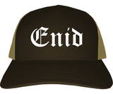 Enid Oklahoma OK Old English Mens Trucker Hat Cap Brown