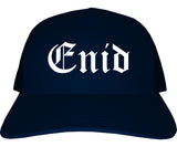 Enid Oklahoma OK Old English Mens Trucker Hat Cap Navy Blue