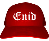 Enid Oklahoma OK Old English Mens Trucker Hat Cap Red