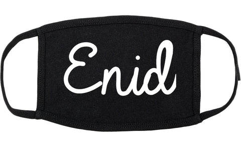 Enid Oklahoma OK Script Cotton Face Mask Black