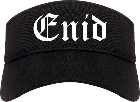 Enid Oklahoma OK Old English Mens Visor Cap Hat Black