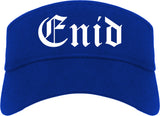 Enid Oklahoma OK Old English Mens Visor Cap Hat Royal Blue