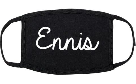 Ennis Texas TX Script Cotton Face Mask Black