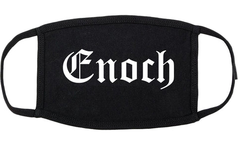 Enoch Utah UT Old English Cotton Face Mask Black