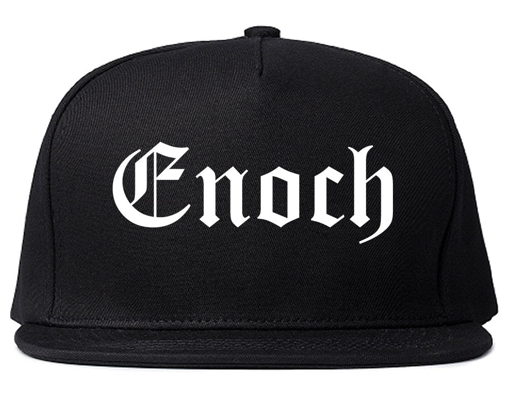 Enoch Utah UT Old English Mens Snapback Hat Black