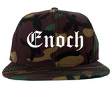 Enoch Utah UT Old English Mens Snapback Hat Army Camo