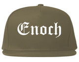 Enoch Utah UT Old English Mens Snapback Hat Grey