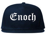 Enoch Utah UT Old English Mens Snapback Hat Navy Blue