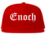 Enoch Utah UT Old English Mens Snapback Hat Red