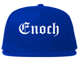 Enoch Utah UT Old English Mens Snapback Hat Royal Blue