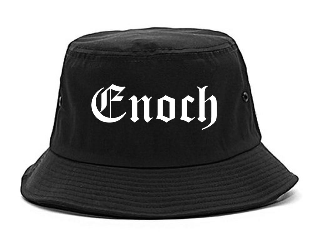 Enoch Utah UT Old English Mens Bucket Hat Black