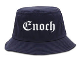 Enoch Utah UT Old English Mens Bucket Hat Navy Blue