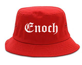 Enoch Utah UT Old English Mens Bucket Hat Red