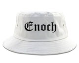 Enoch Utah UT Old English Mens Bucket Hat White