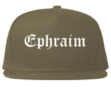 Ephraim Utah UT Old English Mens Snapback Hat Grey